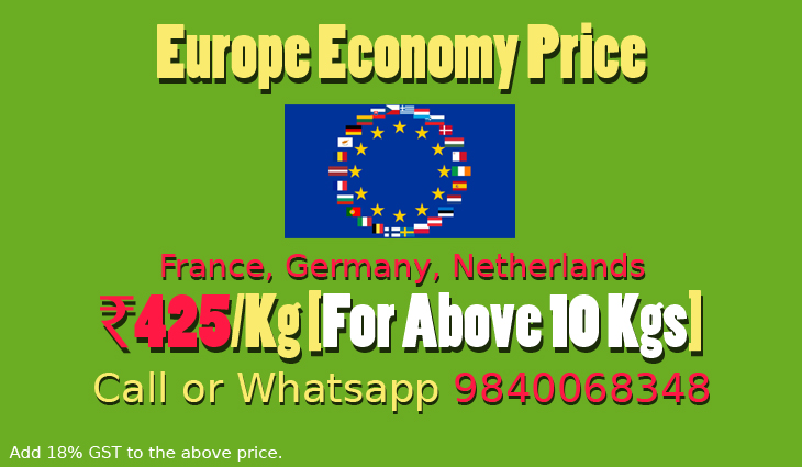Chennai to Europe Courier Charges