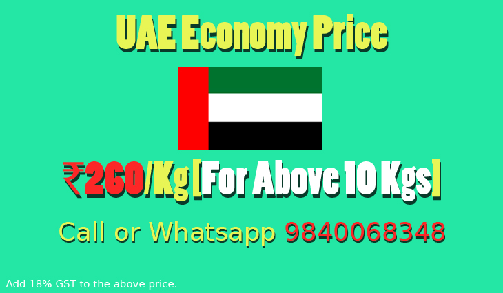Chennai to UAE Courier Charges