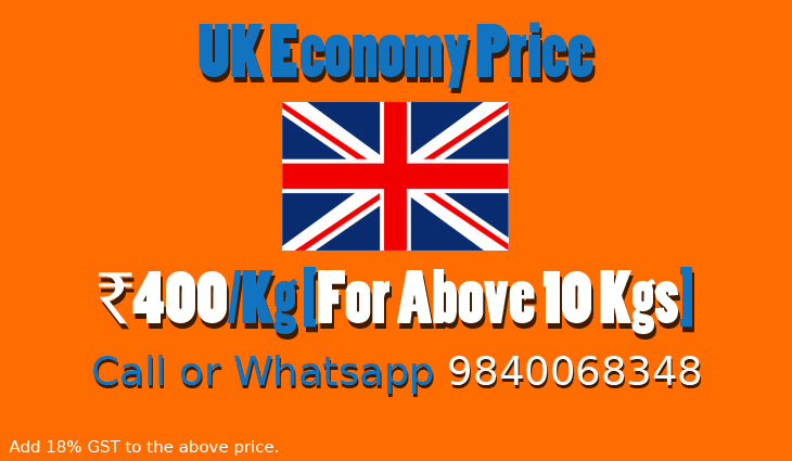 Chennai to UK Courier Charges