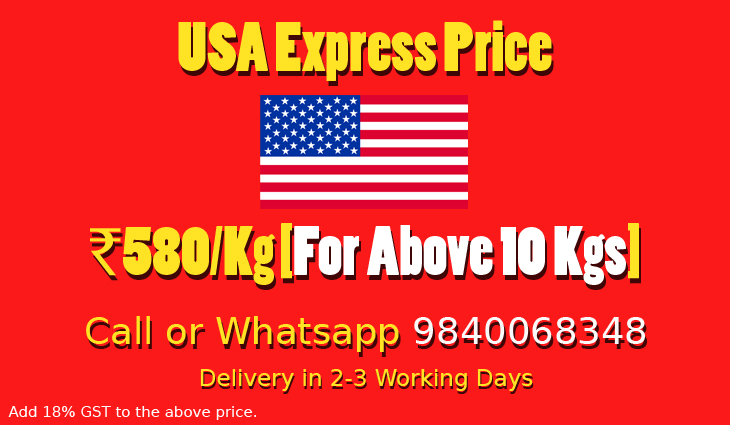 Chennai to USA Courier Charges